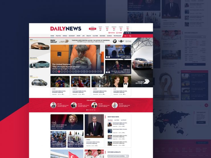 News and Magazine Website Template Free PSD