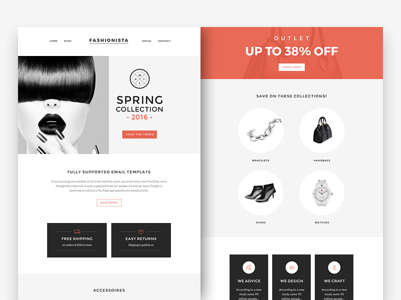 Fashion Accessories Newsletter Template Free PSD