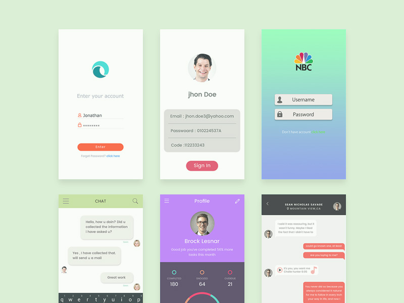 Flat Style Mobile App Ui Kit Free Psd Download Download Psd