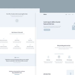 Website Landing Page Wireframe Free PSD