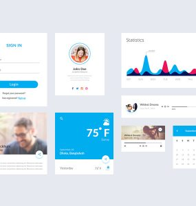 Simple Flat Material UI Kit Free PSD