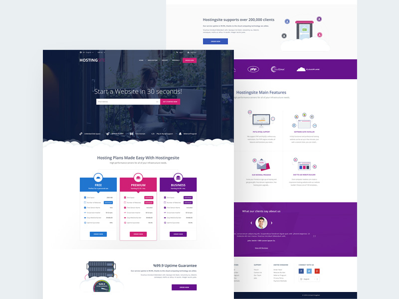 Web Hosting Website Template PSD Download - Download PSD