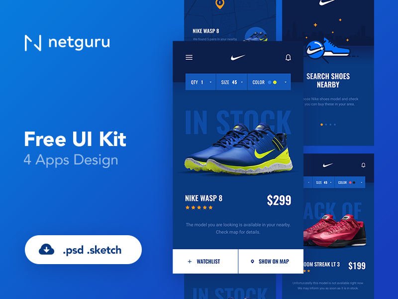 Shoes ECommerce Mobile App UI Kit Free PSD