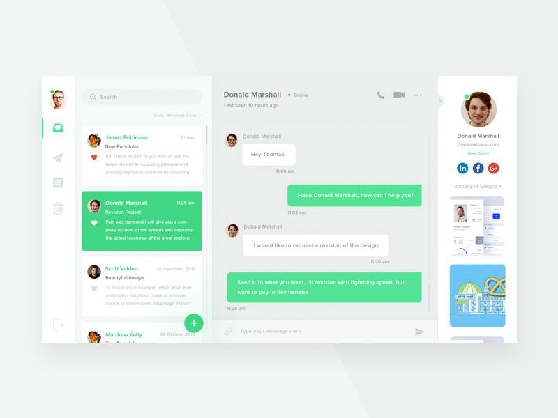Web Messenger Application GUI Free PSD