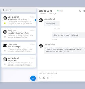 Direct Messaging application UI Free PSD