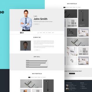 Clean Personal Portfolio Web Template PSD