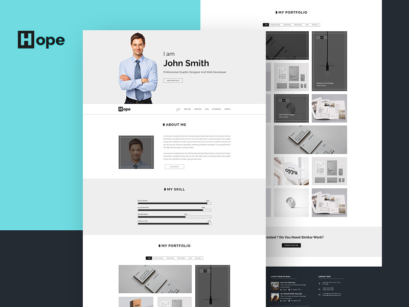 Clean Personal Portfolio Web Template Psd Download - Download Psd