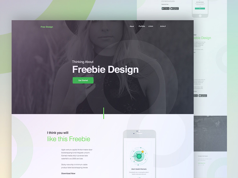 Mobile App Landing page Template PSD