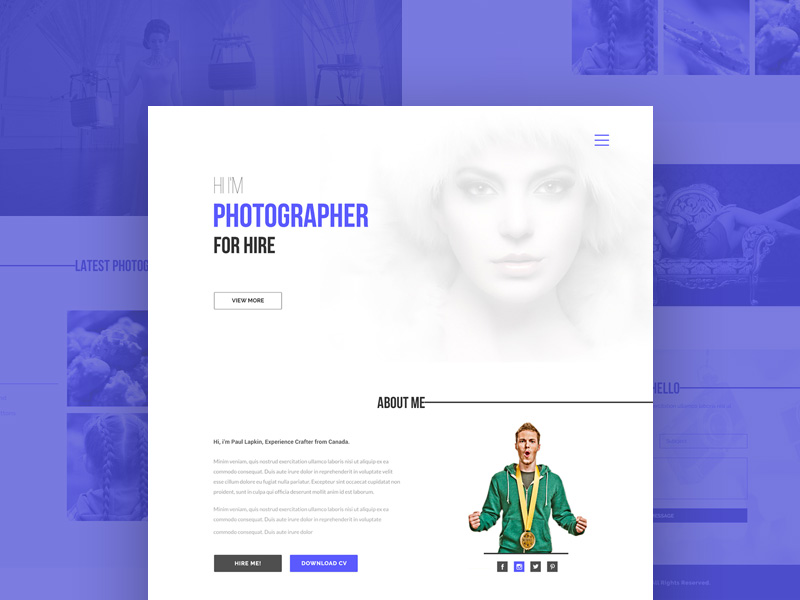 Photographer Portfolio Website Template PSD