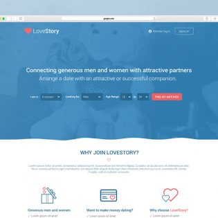 Dating Website Landing Page Template Free PSD