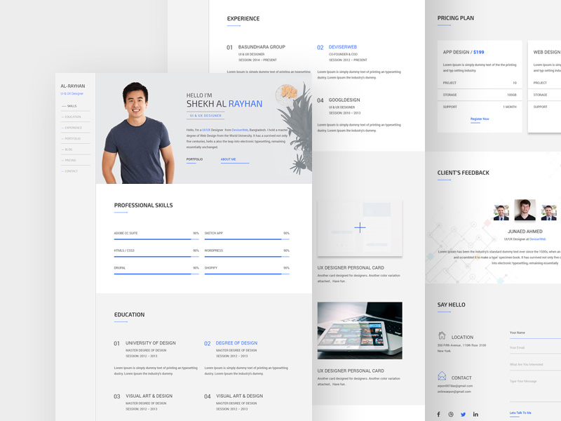 One Page CV Resume Template PSD Www, Work, White, Website Templates, Website