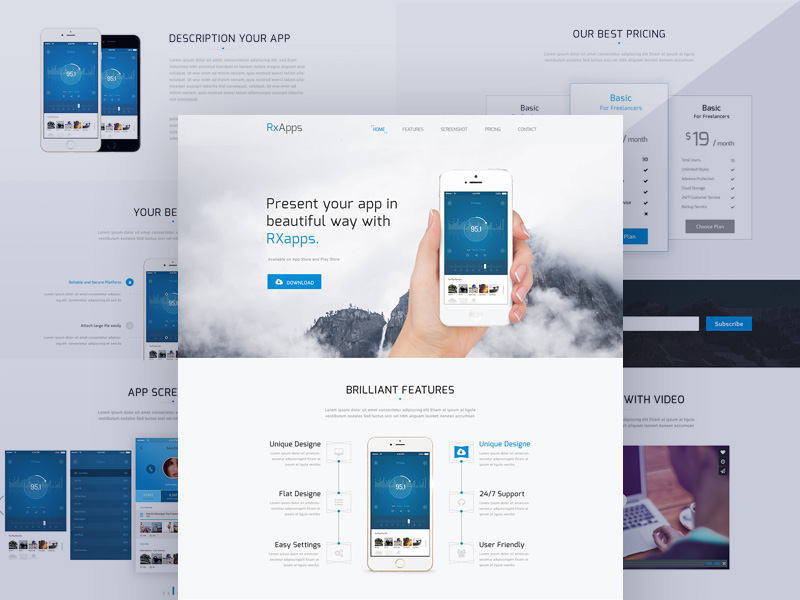 Modern App Landing Page Template Free PSD
