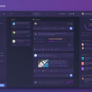 Dashboard Dark UI Design Free PSD