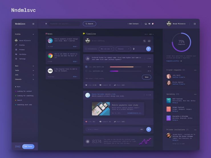 Dashboard Dark UI Design Free PSD