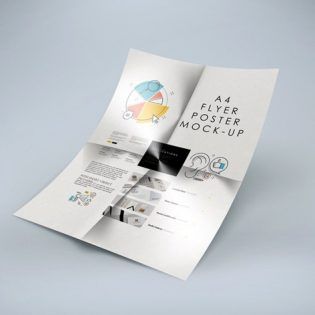 Folded A4 Flyer Mockup Free PSD