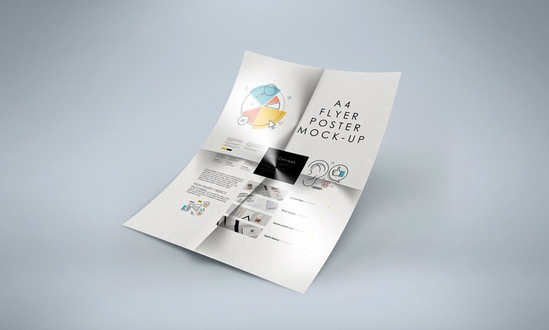 Folded A4 Flyer Mockup Free Psd Download Download Psd