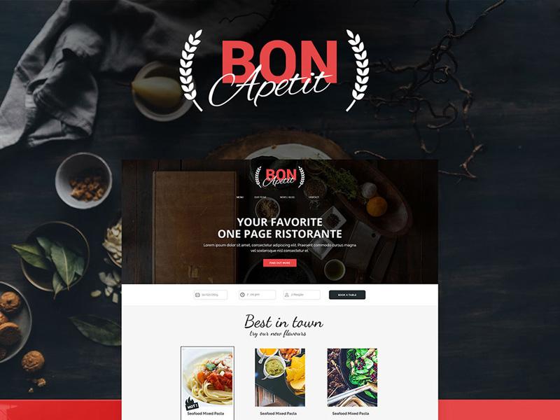Modern Restaurant Website Template PSD