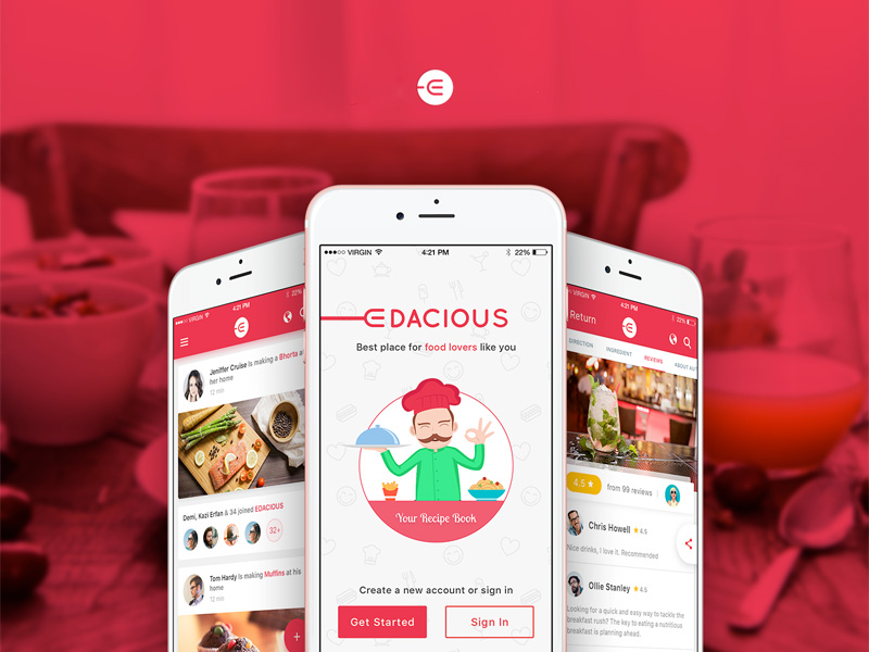 Restaurant Search App Free PSD