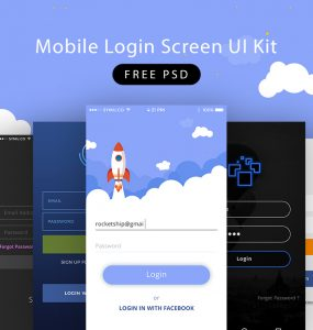Mobile Login Screen UI Kit PSD