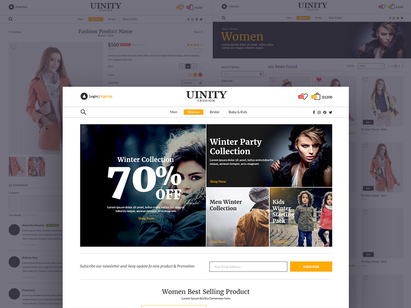 Fashion eCommerce Store Website Templates PSD Download - Download PSD