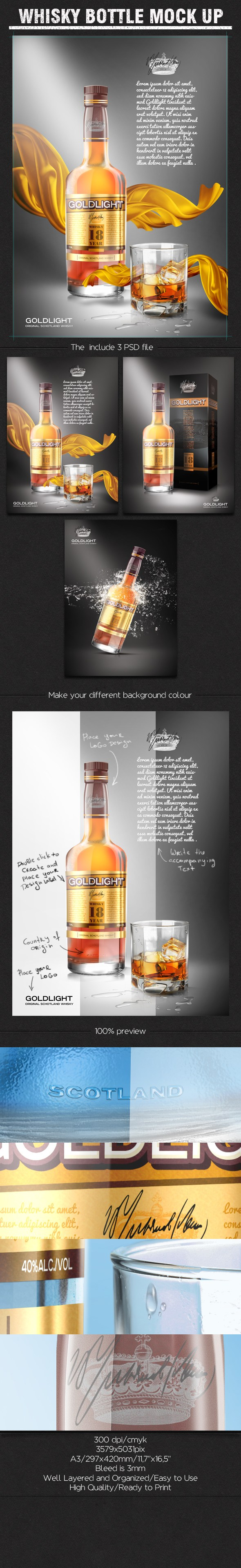Whisky Bottle Mockup Free PSD