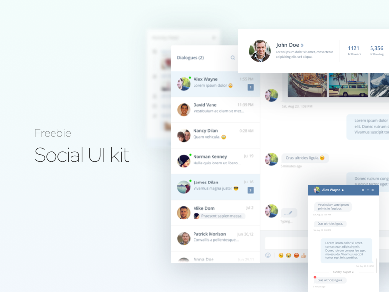 Social Media UI Kit Free PSD