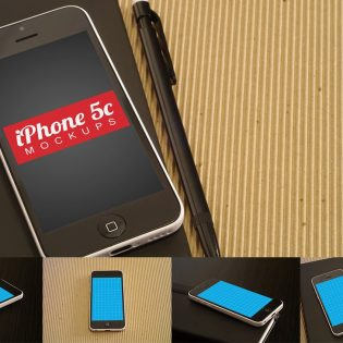 4 iPhone 5c Mockups Free PSD