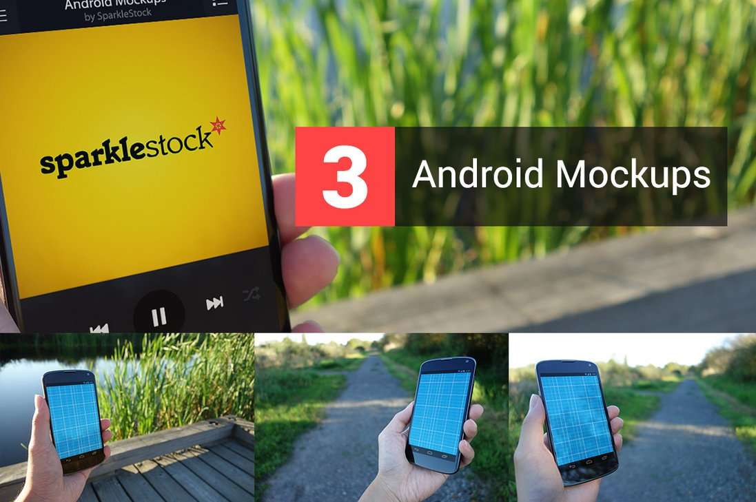 3 Outdoor Realistic Android in Hand Mockups Free PSD