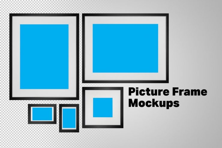 Black Photo Frame Mockups Free PSD