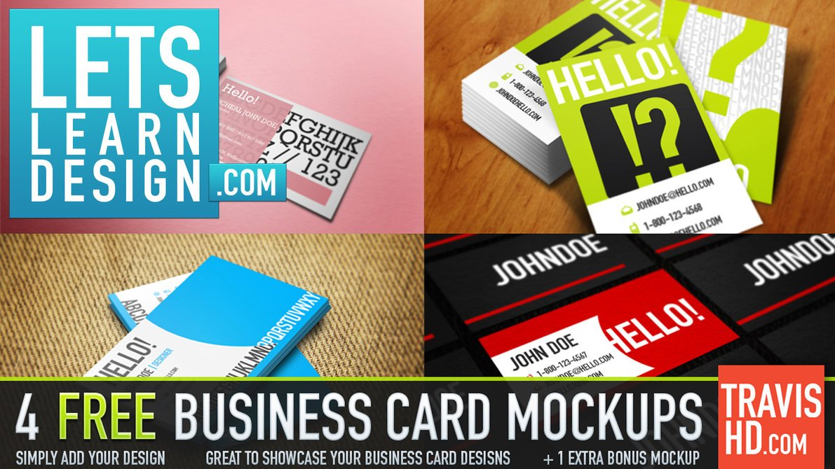 5 Professional Business Card Mockups Free PSD