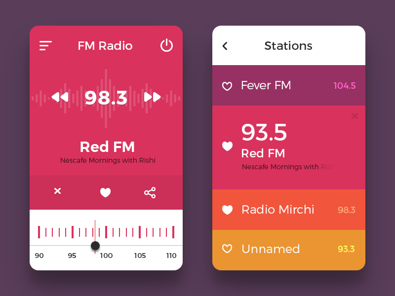 Colorful Mobile Radio App UI Free PSD
