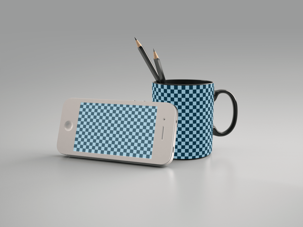 iPhone and Coffee Mug Mockup Free PSD