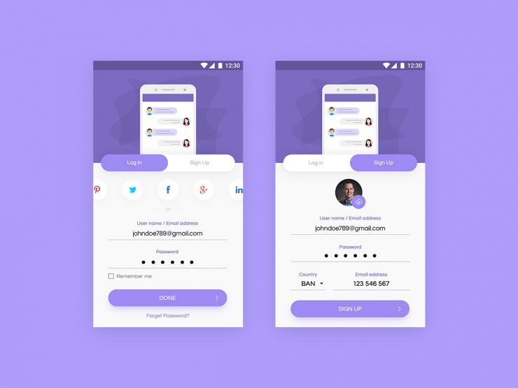 User Login and Signup App Screens PSD