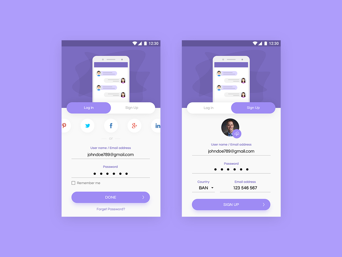 User Login and Signup App Screens PSD
