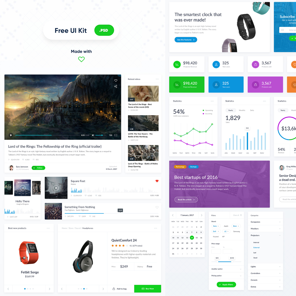 clean web ui kit free psd download psd