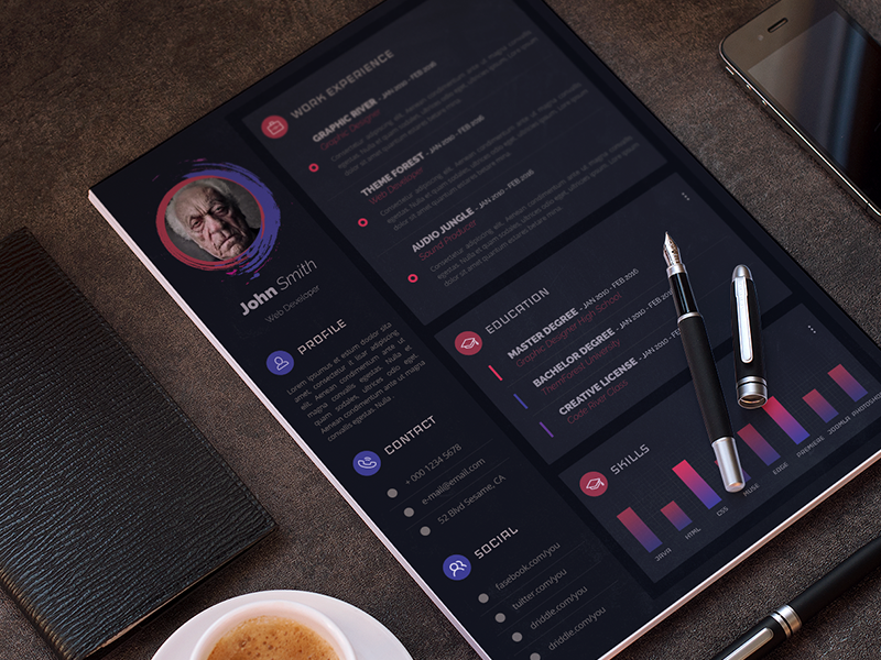 Dark Resume Template Free PSD