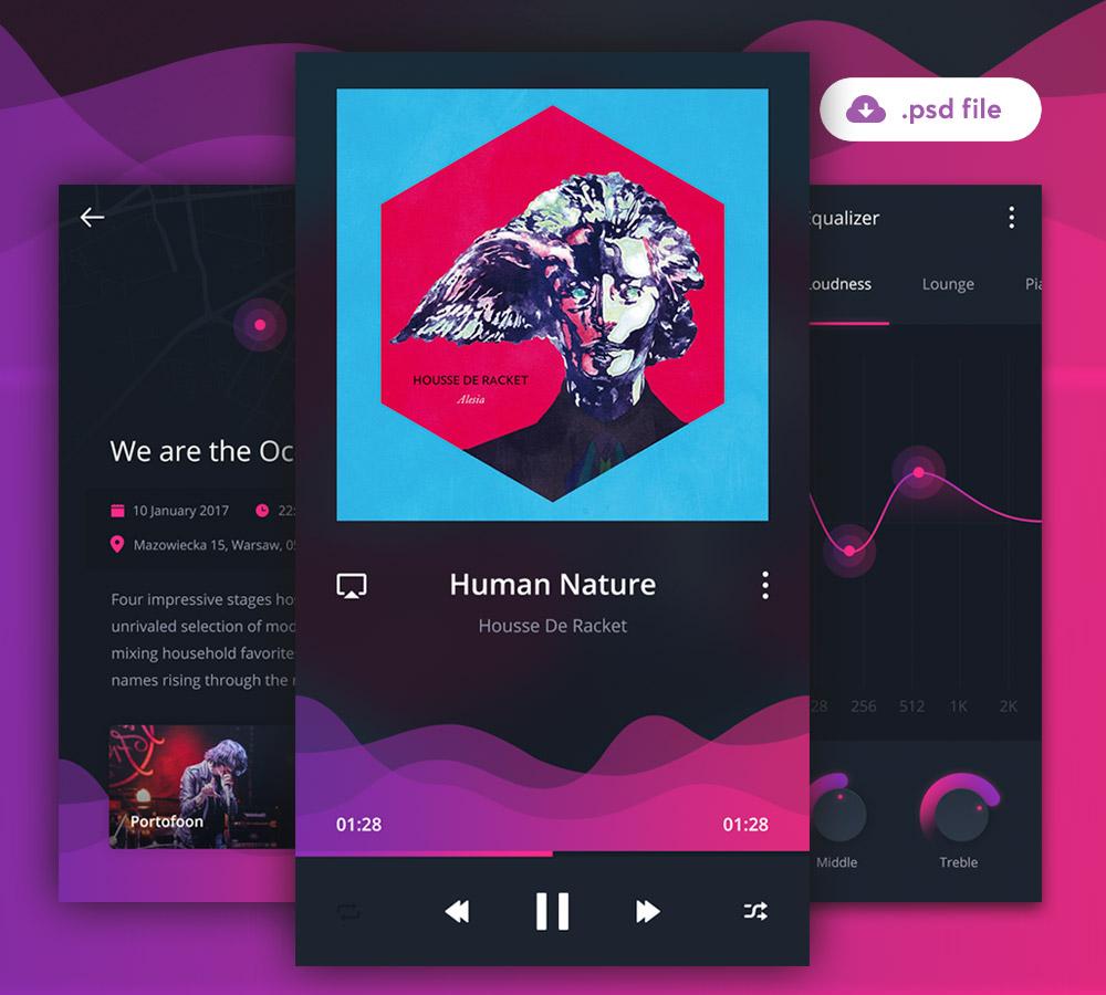 Mobile Music Application UI Free PSD