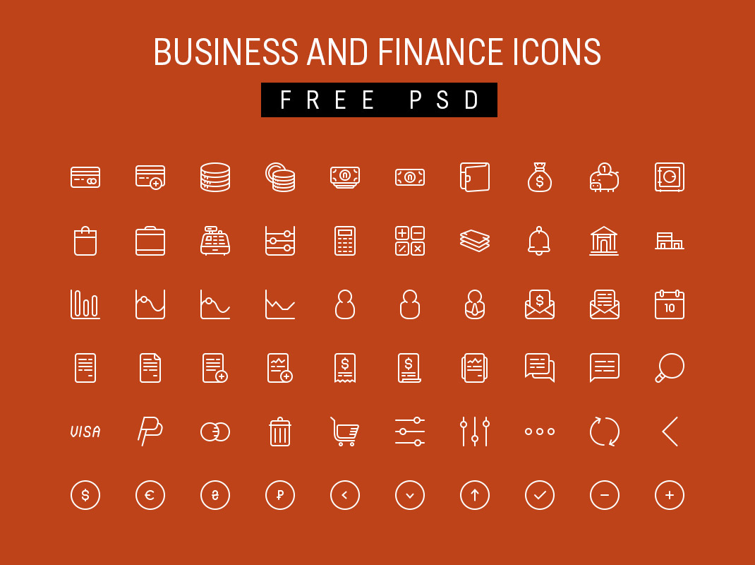 business and finance icons free psd
