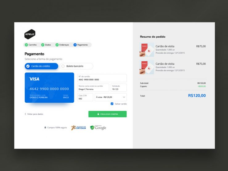 Shopping Cart Payment Screen UI PSD