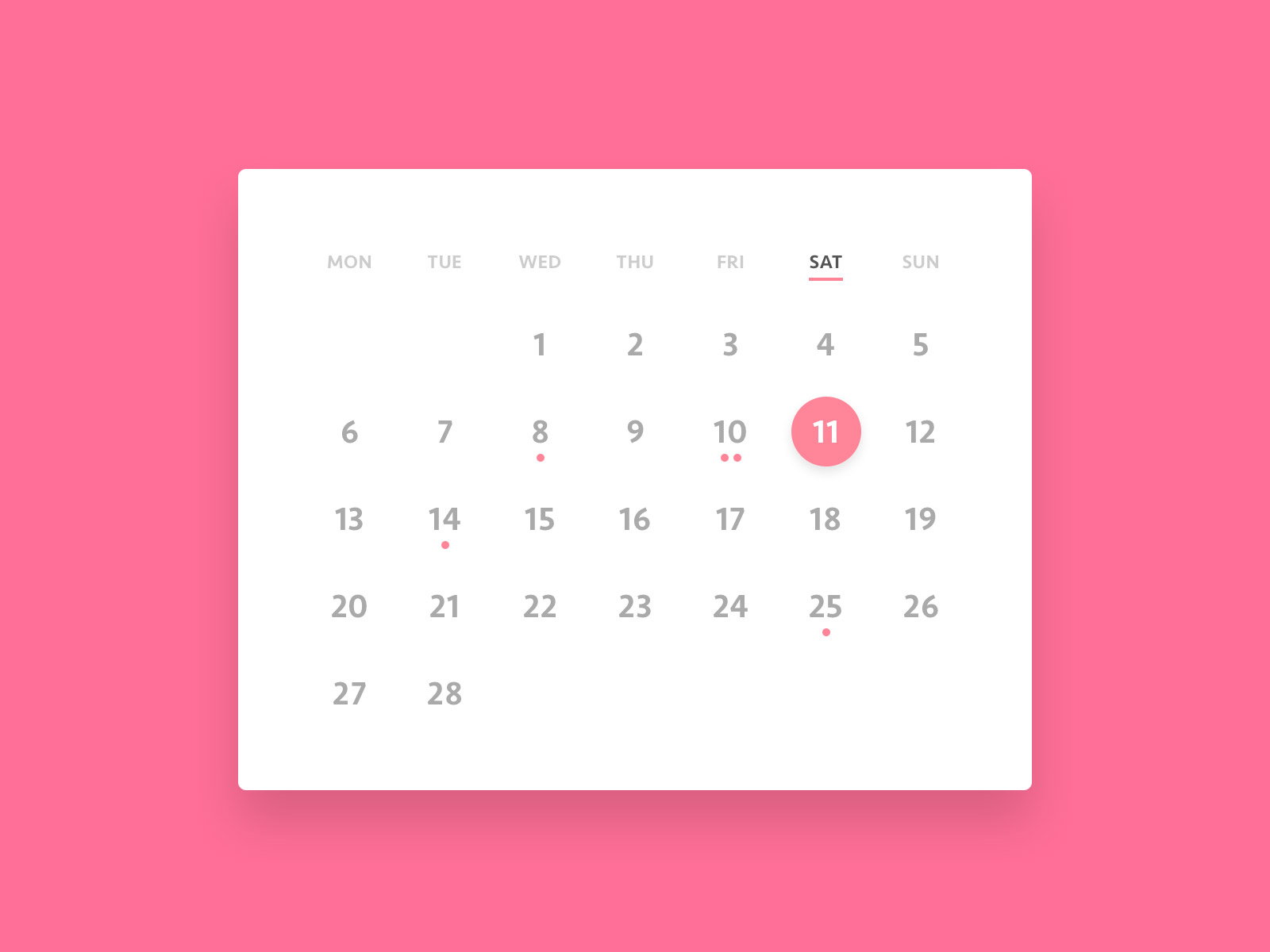 Clean Calendar Widget PSD