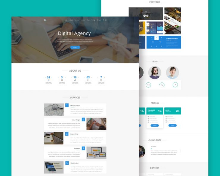 Digital Agency Website Landing Page PSD
