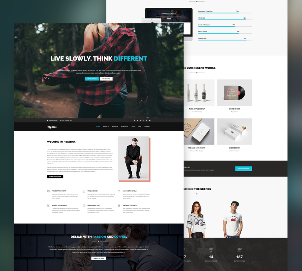 One page Agency Website Template Free PSD