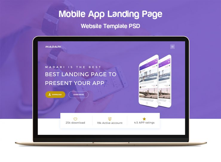 Mobile App Landing Page Website Template PSD
