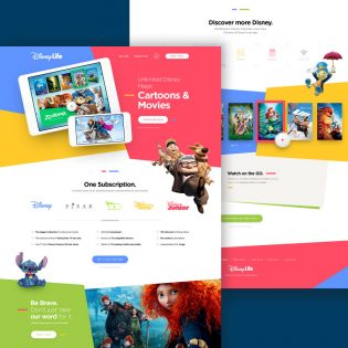 Kids Cartoon and Movies Website Template PSD