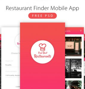 Restaurant Finder Mobile App Free PSD