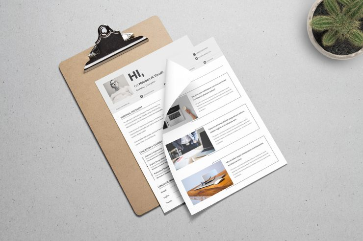 Minimalistic And Elegant Resume Template PSD