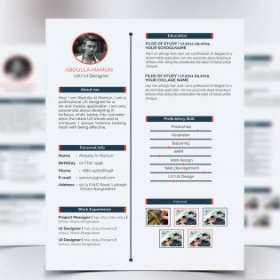 Simple Resume CV Free PSD Template