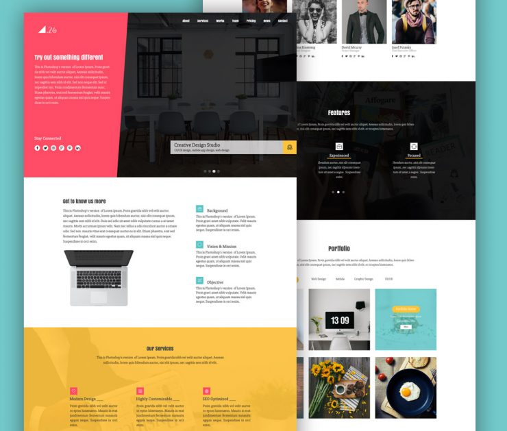 Simple One Page Portfolio Website Template PSD