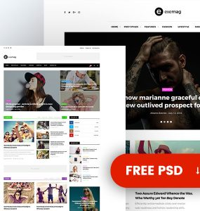 Multipurpose Wordpress Magazine Theme Free PSD Templates