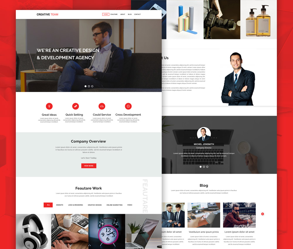 Creative Agency Website Landing Page PSD